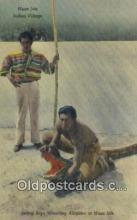 ind200480 - Indian Boys Wrestling Alligator Indian Postcard, Post Card