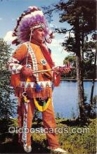 ind200550 - Canadian Indian Chief in Ceremonial Dress, Northland Traders, Temagami Ontario Canada Postcard Post Cards