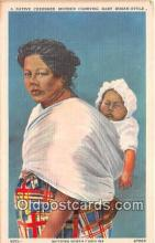 ind200637 - Native Cherokee Mother Carrying Baby Indian Style Western North Carolina, USA Postcard Post Cards