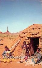 ind200645 - Navajo Family, Hogan  Postcard Post Cards