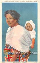 Native Cherokee Mother Carrying Baby Indian Style