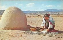 ind200761 - Indian Grinding Corn Color Photo by Walter Haussamen Postcard Post Cards