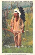 ind300010 - Primitive Hunter, Cherokee Indian Cherokee, NC, USA Postcard Post Cards