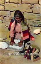 ind300037 - Hopi Grandmother Grinding Corn Oren Arnold Colorphoto Postcard Post Cards