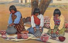 ind300284 - Pueblo Indian Women Making Pottery  Postcard Post Cards