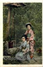 jpn000356 - The Wishing Well, Japan, Japanese Art Postcard Postcards