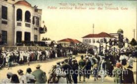 jud001428 - Public Awaiting Balfour near the Triumph Gate Judaic, Judaica Postcard Postcards