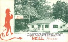 kra000285 - Hell,  Michigan USA Post Office, Krampus Postcard Post Card Old Vintage Antique
