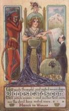 kra000293 - Krampus Here to Woman Postcard Post Card, Carte Postale, Cartolina Postale, Tarjets Postal,  Old Vintage Antique