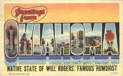 LLS001275 - Oklahoma, USA Large Letter State States Postcard Postcards
