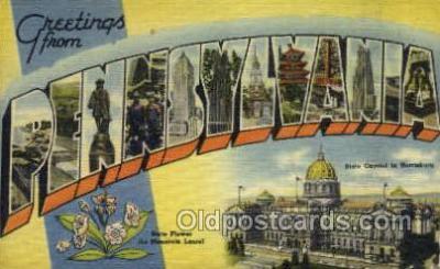 LLS001867 - Pennsylvania USA Large Letter States, Old Vintage Antique Postcard Post Cards