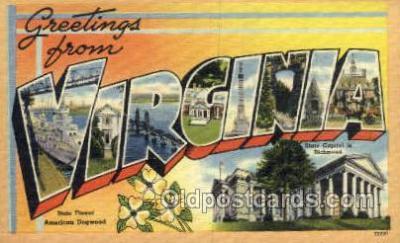LLS001876 - Virginia USA Large Letter States, Old Vintage Antique Postcard Post Cards