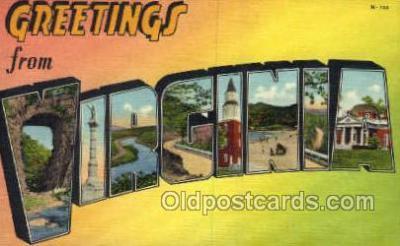LLS001877 - Virginia USA Large Letter States, Old Vintage Antique Postcard Post Cards