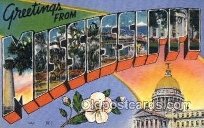 LLS001878 - Mississippi USA Large Letter States, Old Vintage Antique Postcard Post Cards