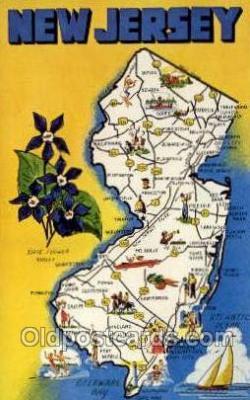 LLS001890 - New Jersey USA Large Letter States, Old Vintage Antique Postcard Post Cards