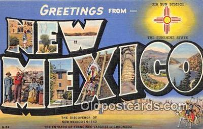 LLS100218 - Linen New Mexico, USA Postcard Post Cards