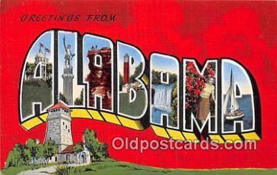 LLS100230 - Linen Alabama, USA Postcard Post Cards