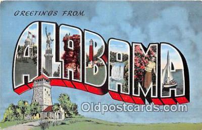 LLS100231 - Linen Alabama, USA Postcard Post Cards