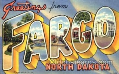 LLT001343 - Greetings From Fargo, North Dakota, USA Large Letter Town Towns Postcard Postcards