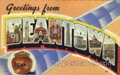 LLT001366 - Greetings From Beantown, Boston Mass, USA Large Letter Town Towns Postcard Postcards