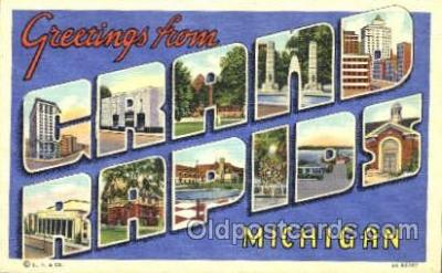 LLT001370 - Greetings From Grand Rapids, Michigan, USA Large Letter Town Towns Postcard Postcards