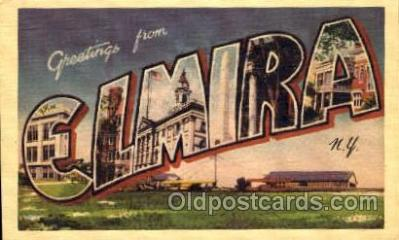 LLT001393 - Greetings From Elmira, New York, USA Large Letter Town Towns Postcard Postcards