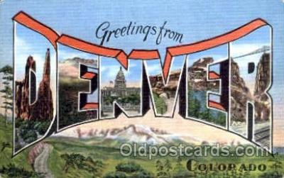 LLT001405 - Greetings From Denver Colorado, USA Large Letter Town Towns Postcard Postcards