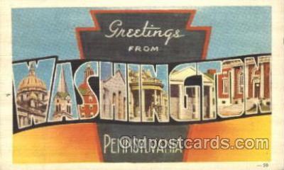 LLT100041 - Washington, Pennsylvania, USA Large Letter Town, Towns, Postcard Postcards