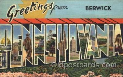 LLT100043 - Berwick, Pennsylvania, USA Large Letter Town, Towns, Postcard Postcards