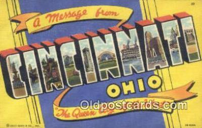 LLT200002 - Cincinnati, Ohio, USA Large Letter Town Postcard Post Card Old Vintage Antique
