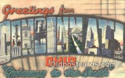LLT200086 - Cincinnati, Ohio, USA Large Letter Town Postcard Post Card Old Vintage Antique