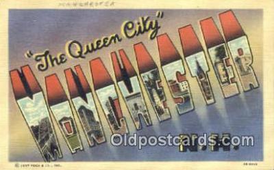 LLT200196 - Manchester, NH, USA Large Letter Town Postcard Post Card Old Vintage Antique
