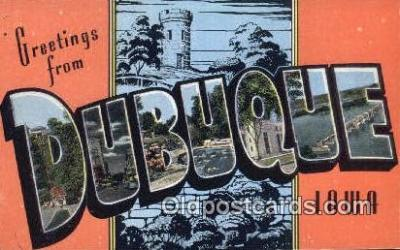 LLT200368 - Dubuque, Iowa, USA Large Letter Town Postcard Post Card Old Vintage Antique