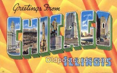 LLT200407 - Chicago, Illinois, USA Large Letter Town Postcard Post Card Old Vintage Antique