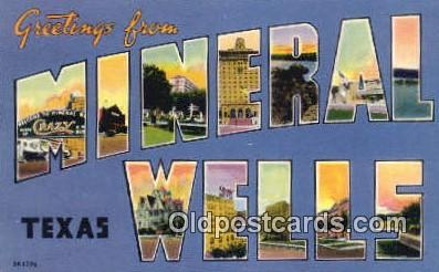 LLT200421 - Mineral Wells, Texas, USA Large Letter Town Postcard Post Card Old Vintage Antique