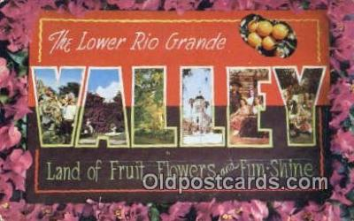 LLT200424 - Rio Grande Valley, Texas, USA Large Letter Town Postcard Post Card Old Vintage Antique