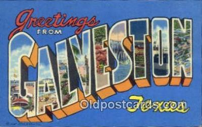 LLT200425 - Galveston, Texas, USA Large Letter Town Postcard Post Card Old Vintage Antique