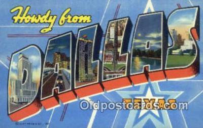 LLT200428 - Dallas, Texas, USA Large Letter Town Postcard Post Card Old Vintage Antique