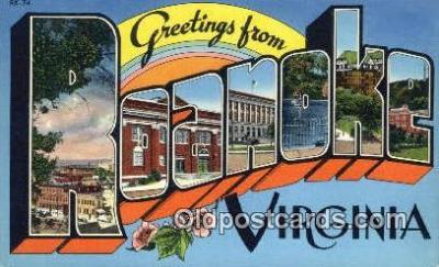 LLT200445 - Roanoke, Virginia, USA Large Letter Town Postcard Post Card Old Vintage Antique