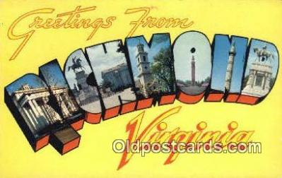 LLT200446 - Richmond, Virginia, USA Large Letter Town Postcard Post Card Old Vintage Antique