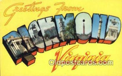 LLT200448 - Richmond, Virginia, USA Large Letter Town Postcard Post Card Old Vintage Antique