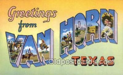 LLT200450 - Van Horn, Texas, USA Large Letter Town Postcard Post Card Old Vintage Antique