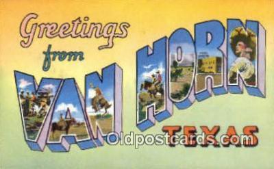 LLT200451 - Van Horn, Texas, USA Large Letter Town Postcard Post Card Old Vintage Antique