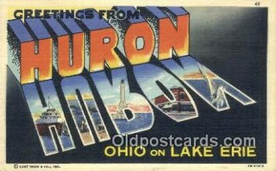 LLT200480 - Huron, Ohio, USA Large Letter Town Postcard Post Card Old Vintage Antique