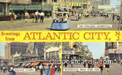 LLT200483 - Atlantic City, NJ, USA Large Letter Town Postcard Post Card Old Vintage Antique
