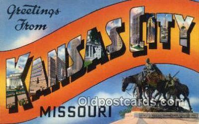 LLT201159 - Kansas City, Missouri USA Large Letter Town Vintage Postcard Old Post Card Antique Postales, Cartes, Kartpostal
