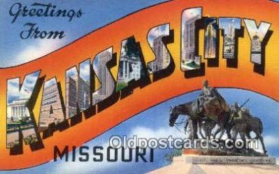 LLT201161 - Kansas City, Missouri USA Large Letter Town Vintage Postcard Old Post Card Antique Postales, Cartes, Kartpostal