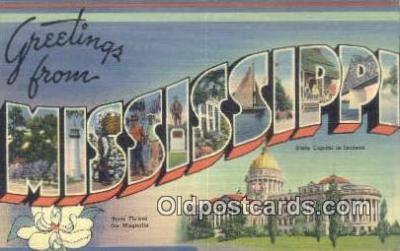 LLT201219 - Mississippi USA Large Letter Town Vintage Postcard Old Post Card Antique Postales, Cartes, Kartpostal
