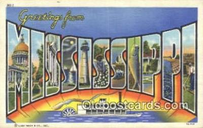 LLT201220 - Mississippi USA Large Letter Town Vintage Postcard Old Post Card Antique Postales, Cartes, Kartpostal