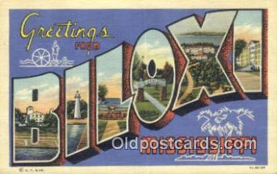 LLT201223 - Biloxi, Mississippi USA Large Letter Town Vintage Postcard Old Post Card Antique Postales, Cartes, Kartpostal